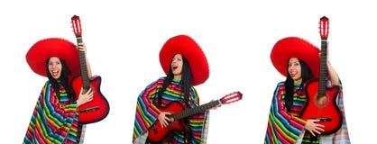 白色的妇女墨西哥吉他演奏员 免版税库存图片