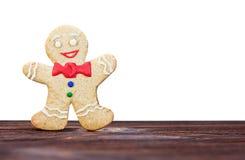 白色的微笑的姜饼人 库存图片