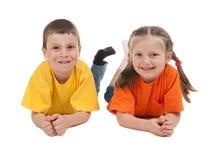 微笑的男孩和女孩 库存图片