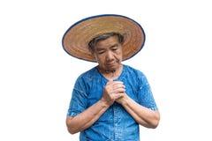 白色的忧虑老亚裔妇女农夫 免版税库存图片