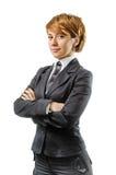 白色的快乐的女实业家 免版税库存照片