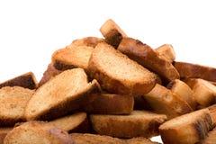 白色的接近的面包干 库存图片