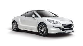 白色的标致汽车RCZ 免版税图库摄影