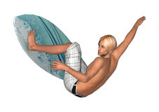 白色的男性冲浪者 免版税库存照片