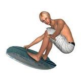 白色的男性冲浪者 库存照片