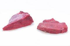 白色的背景接近的肉猪肉 免版税图库摄影