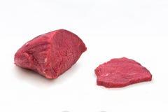 白色的背景接近的肉猪肉 图库摄影