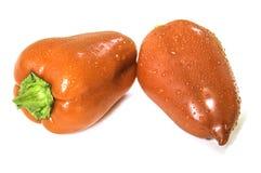 白色的背景接近的胡椒甜点 库存照片