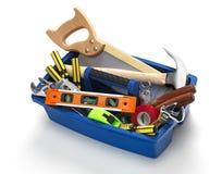白色的背景配件箱关闭查出的工具 免版税库存图片