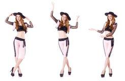 白色的跳舞红头发人妇女西班牙斗牛士 免版税库存照片