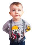 白色的逗人喜爱的samall男孩 免版税图库摄影