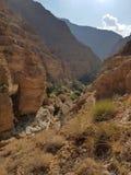 白色石头峡谷是干燥河床 库存照片