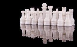 白色石头做了国际象棋棋局II 免版税库存照片