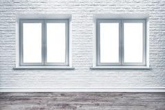 白色砖墙和板条木头地板 图库摄影