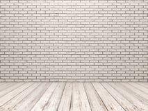 白色砖墙和白色木地板 免版税图库摄影