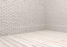 白色砖墙和白色木地板 库存图片