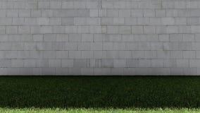 白色砖墙和绿草地板 免版税库存图片