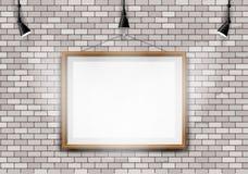 白色砖墙图片放映机 免版税图库摄影