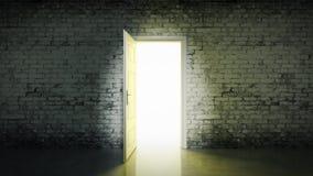 白色砖室和门户开放主义的光 库存图片