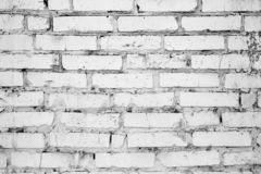 白色砖破裂的不纯的墙壁,背景,纹理 库存照片