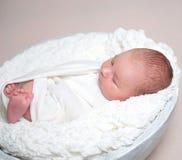 白色碗的困新出生的婴孩 免版税库存图片