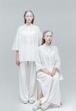 白色礼服的两名美丽的神秘的妇女 库存照片