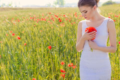 白色礼服的美丽的逗人喜爱的柔和的女孩在与鸦片花束的鸦片领域在手上  免版税库存照片