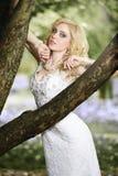 白色礼服的美丽的年轻新娘有在树附近的花束的在夏天绿色公园 库存图片