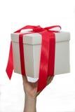 白色礼物盒在手中 库存图片