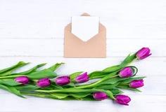 白色空插件的构成在被打开的工艺信封的用在白色木背景的新鲜的美丽的紫色郁金香装饰了 库存图片