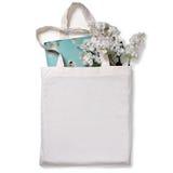 白色空白的棉花eco大手提袋,设计大模型 免版税库存照片