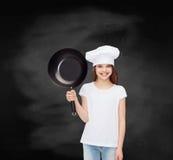 白色空白的T恤杉的微笑的小女孩 库存图片