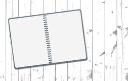 白色笔记,笔记本在木板条或台式,书桌表面 木纹理 也corel凹道例证向量 皇族释放例证