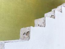 白色篱芭对绿色墙壁2 免版税库存照片