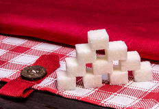 白色精制糖立方体 免版税库存图片