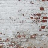 白色红色减速火箭的砖墙白涂料框架背景纹理 图库摄影