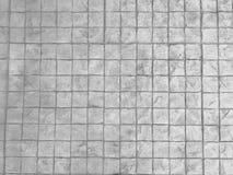 白色纹理石头路面背景 方形的砖块墙壁 免版税图库摄影