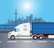 白色美国卡车  免版税库存图片