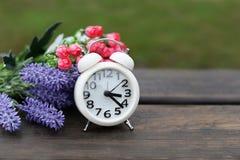 白色老时钟闹钟在自然的早晨在木 库存图片