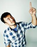 白色背景打手势的情感, po年轻逗人喜爱的亚裔人 免版税库存照片