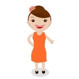 白色背景的一个逗人喜爱的小女孩 免版税库存照片