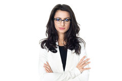 白色背景的女实业家 免版税库存图片