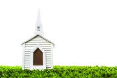 白色背景的婚礼教堂 免版税库存照片