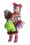 白色背景的小女孩 免版税库存照片
