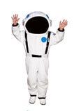 白色背景的小男孩宇航员 免版税库存图片