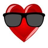 白色背景的心脏先生 在行家sungla的凉快的字符 免版税库存图片