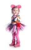 白色背景的快乐的小女孩 免版税图库摄影