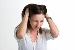 白色背景的恼怒的Seriouse妇女 库存照片