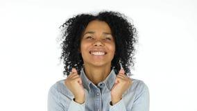 白色背景的惊奇黑人妇女 免版税库存照片