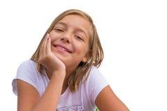 白色背景的愉快的微笑的吉普赛女孩 免版税库存图片